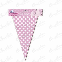Banderin 3 m pink polka dots