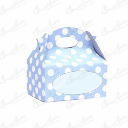 Box with blue window polka dots 24 units