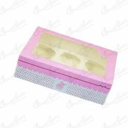 Caja vacia cup cake rosa