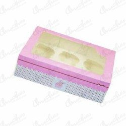 Empty pink cup cake box