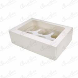 Empty white cup cake box