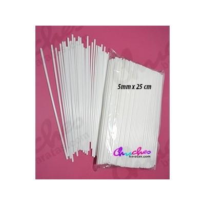 Palo plástico blanco 5 mm x 25 cm 100 unidades