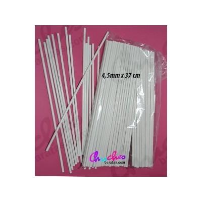 Palo plástico blanco 4, 5 mm x 37 cm 100 unidades