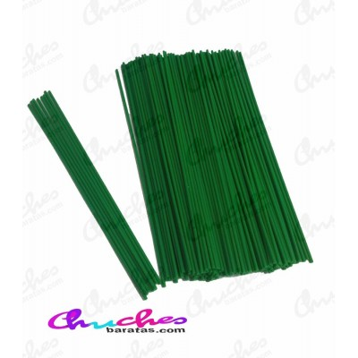 Palo plástico verde 3 mm x 25 cm 100 unidades