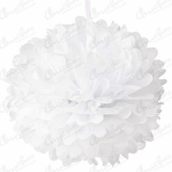 Fluffy PomPom Colgante Color Blanco