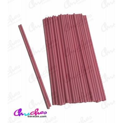 Palo plástico rosa 5 mm x 25 cm 100 unidades