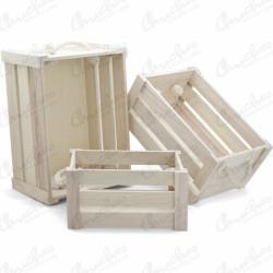 Set 3 large wooden boxes
