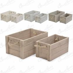 Set 2 medium wooden boxes