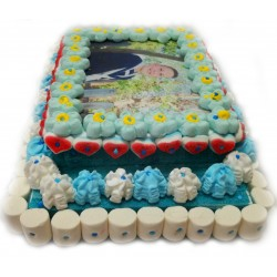 Rectangular cake 2-tier wafer personalized blue