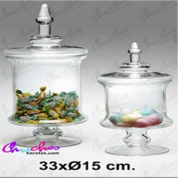Bombonera cristal pie 33 x 15 cm