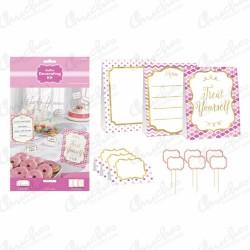 Kit decoracion Buffet Rosa (12 Piezas)