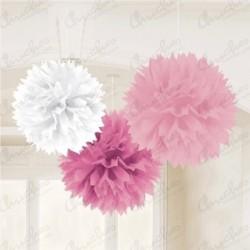 Fluffy PomPom Pendant Color Pink / White