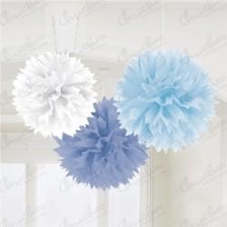 Fluffy PomPom Colgante Color Azules / Blanco
