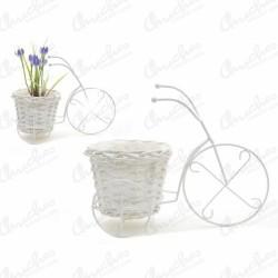 Macetero metal triciclo blanco