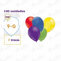 Bag 100 assorted balloons 21 cm