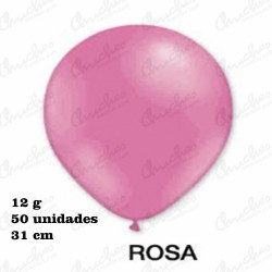 Bag 50 Balloons 31cm. DECOHELIUM REDONDO-ROSA
