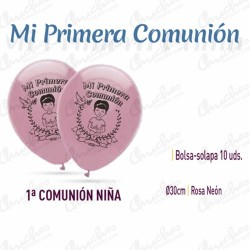 Bag of 10 balloons ROSA NEON 30 cm 1ª.COMUNION
