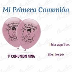 Bolsa de 10 globos ROSA NEON 30 cm 1ª.COMUNION