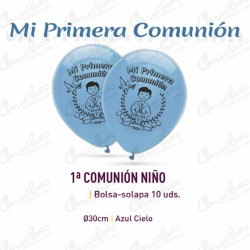 Bag of 10 balloons BLUE 30 cm 1ª.COMUNION