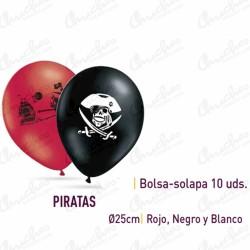 Bag-Flap 10 Balloons 25 cm. ø PIRATES