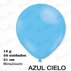 Bag 50 Balloons 28 cm. ø DECOHELIUM METALIZED-BLUE SKY