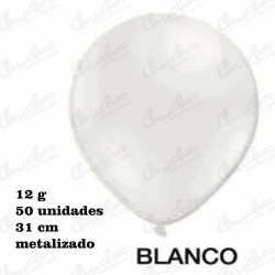 Bag 50 Balloons 28 cm. ø DECOHELIUM METALIZED-WHITE