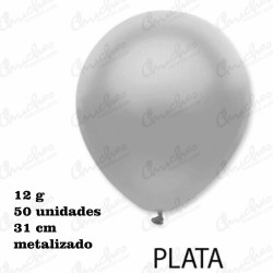 Bag 50 Balloons 28 cm. ø DECOHELIUM METALIZED-SILVER