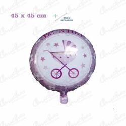 Globo de Poliamida + Tubo 45x51 cm. ES UNA NIÑA