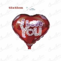 Globo de Poliamida + Tubo 45x49 cm. I LOVE YOU