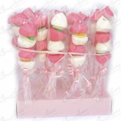 Brochetas rosa y blancas 20 unidades