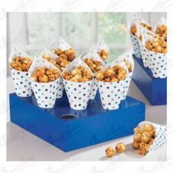 Conos snacks puntos azules con caja