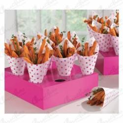 Conos snacks puntos rosa  con caja