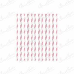 Pajitas rayas rosas 24 unidades