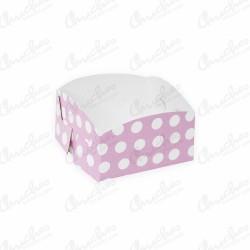 Pink polka dot tray 10x10 cm