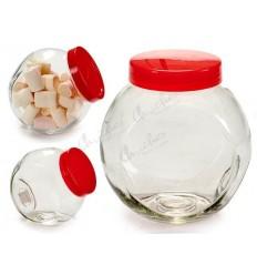 Bote chuchero cristal tapa roja 2,2 L