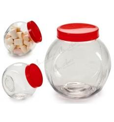 Pot glass jar red lid 1,4 L