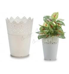 White plastic pot 15x12 cm