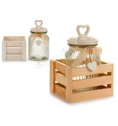 Glass jar lace and stand 900ML