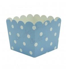 3 Cajas azul lunares 10x10x8,5 cm