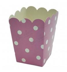 3 Pink polka dot boxes 8x8x10cm