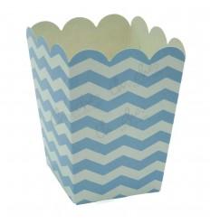 3 Blue boxes with stripes 8x8x10cm