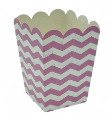 3 boxes pink stripes 8x8x10cm