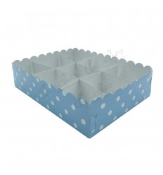 Tray 9 compartments blue dots Plasticized