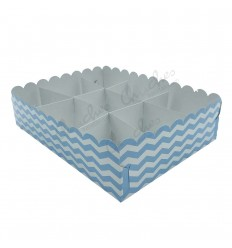 Tray 9 compartments blue stripes Plasticized