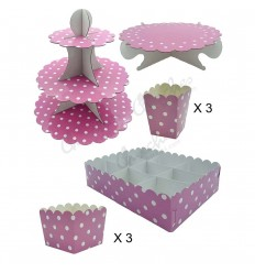 kit mesas dulce rosa lunares