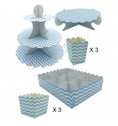 Blue striped sweet tables kit