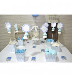 Kit mesa dulce azul ondas