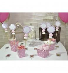 Kit mesa dulce rosa lunares