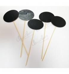 5 pizarras ovaladas con palo madera