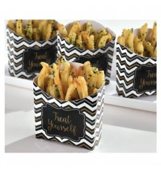 cajas tarrinas snacks chevorn negro/oro/plata 24